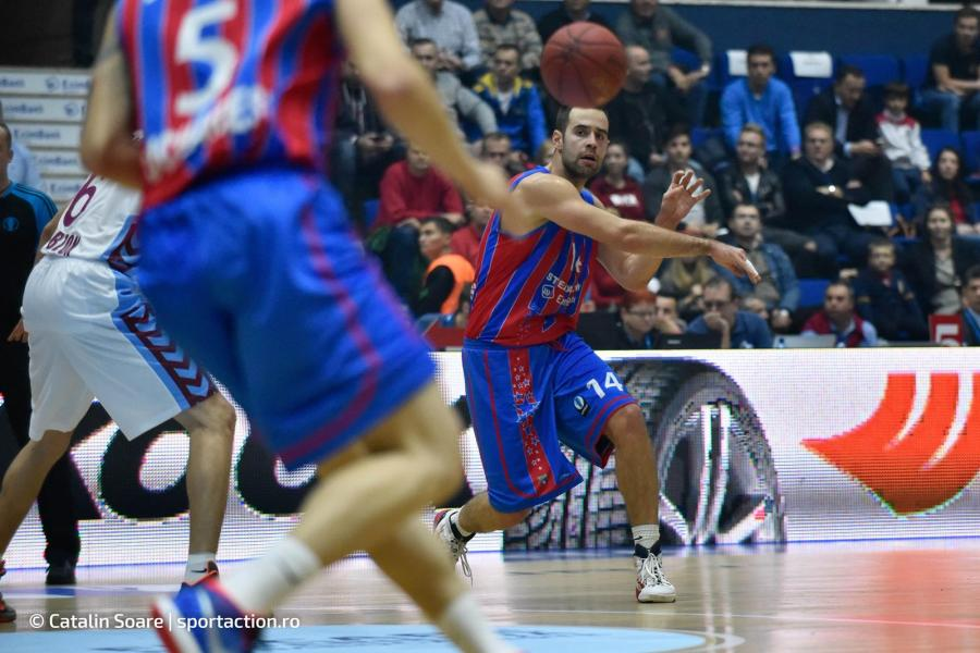 October 21, 2015: Titus Nicoara #14 of Steaua CSM EximBank Bucharest during the Eurocup Basketball game between Steaua CSM EximBank Bucharest (ROU) vs Trabzonspor Medical Park (TUR) at Polyvalent Hall in Bucharest, Romania ROU. Catalin Soare/www.sportaction.ro
