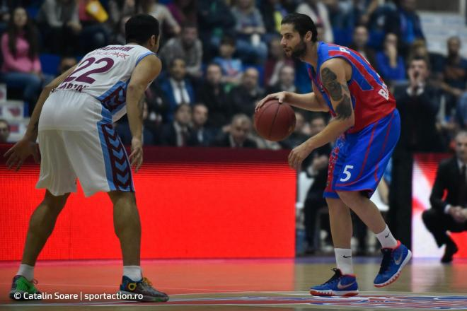 October 21, 2015: Mihail Octavian Paul #5 of Steaua CSM EximBank Bucharest during the Eurocup Basketball game between Steaua CSM EximBank Bucharest (ROU) vs Trabzonspor Medical Park (TUR) at Polyvalent Hall in Bucharest, Romania ROU. Catalin Soare/www.sportaction.ro