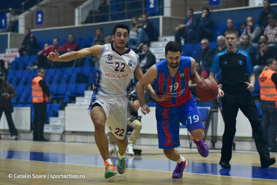 October 21, 2015: Ibrahim Yildirim #22 of Trabzonspor Medical Park and Aleksandar Rasic #19 of Steaua CSM EximBank Bucharest during the Eurocup Basketball game between Steaua CSM EximBank Bucharest (ROU) vs Trabzonspor Medical Park (TUR) at Polyvalent Hall in Bucharest, Romania ROU. Catalin Soare/www.sportaction.ro