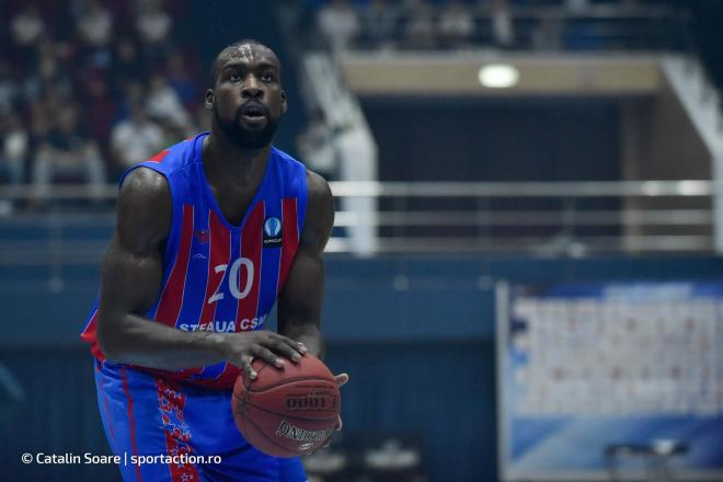 October 21, 2015: Williams Christopher Cooper #20 of Steaua CSM EximBank Bucharest during the Eurocup Basketball game between Steaua CSM EximBank Bucharest (ROU) vs Trabzonspor Medical Park (TUR) at Polyvalent Hall in Bucharest, Romania ROU. Catalin Soare/www.sportaction.ro